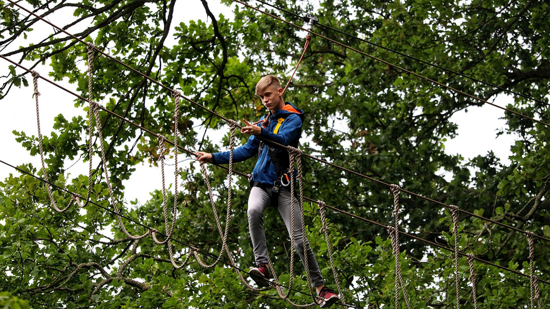 ISSFT student negotiating a treetop walkbridge